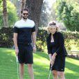 Jennie Garth et son nouveau fiancé David Abrams passent la journée au Golf de Calabasas, Los Angeles, le 26 avril 2015