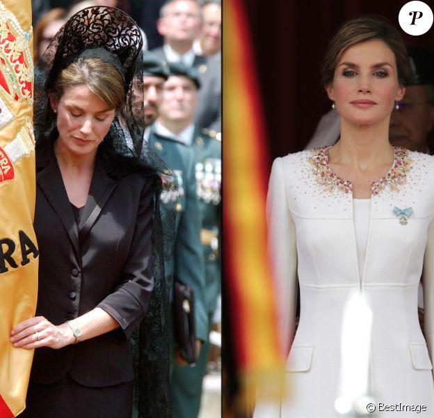 Letizia d'Espagne lors d'une remise de drapeau honorifique à la Garde civile en 2005 / en 2015. Devenue reine entre-temps, l'épouse de Felipe a révolutionné l'exercice !