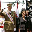 Letizia d'Espagne, alors princesse des Asturies, lors d'une remise de drapeau à la Garde civile en juin 2005