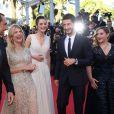 """Gilles Lellouche, Mélanie Laurent, Charlotte Le Bon, Pierre Niney, Marilou Berry - Montée des marches du film """"Inside Out"""" (Vice-Versa) lors du 68e Festival International du Film de Cannes, le 18 mai 2015."""