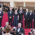 """Gilles Lellouche, Marilou Berry, Pete Docter, Jonas Rivera, Ronnie del Carmen, John Lasseter, Mélanie Laurent, Charlotte Le Bon - Montée des marches du film """"Inside Out"""" (Vice-Versa) lors du 68e Festival International du Film de Cannes, le 18 mai 2015."""