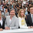 "Josh Brolin, Denis Villeneuve, Emily Blunt, Benicio del Toro - Photocall du film ""Sicario"" lors du 68e festival international du film de Cannes le 19 mai 2015."