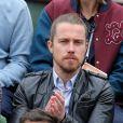 """"""" Julien Doré - People dans les tribunes lors du tournoi de tennis de Roland Garros à Paris le 29 mai 2015. """""""