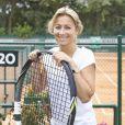 Anne-Sophie Lapix lors de la deuxième journée du Trophée des personnalités à Roland-Garros, le mercredi 3 juin 2015.