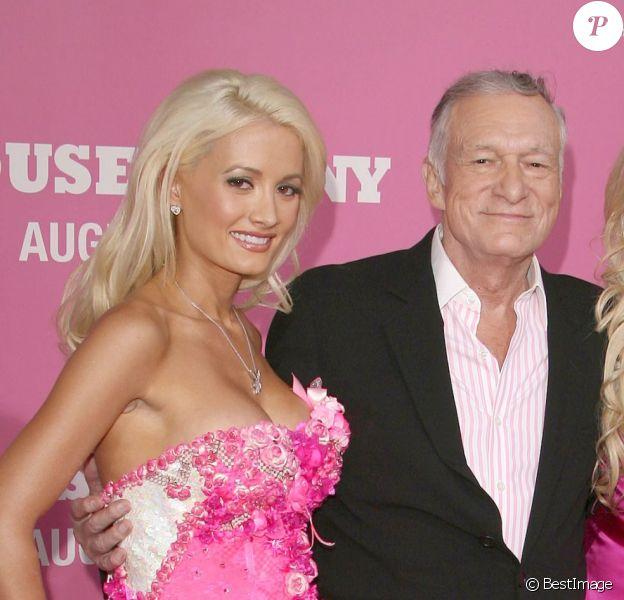 Holly Madison, Hugh Hefner, Bridget Marquardt et Kendra Wilkinson à Los Angeles, le 20 août 2008.