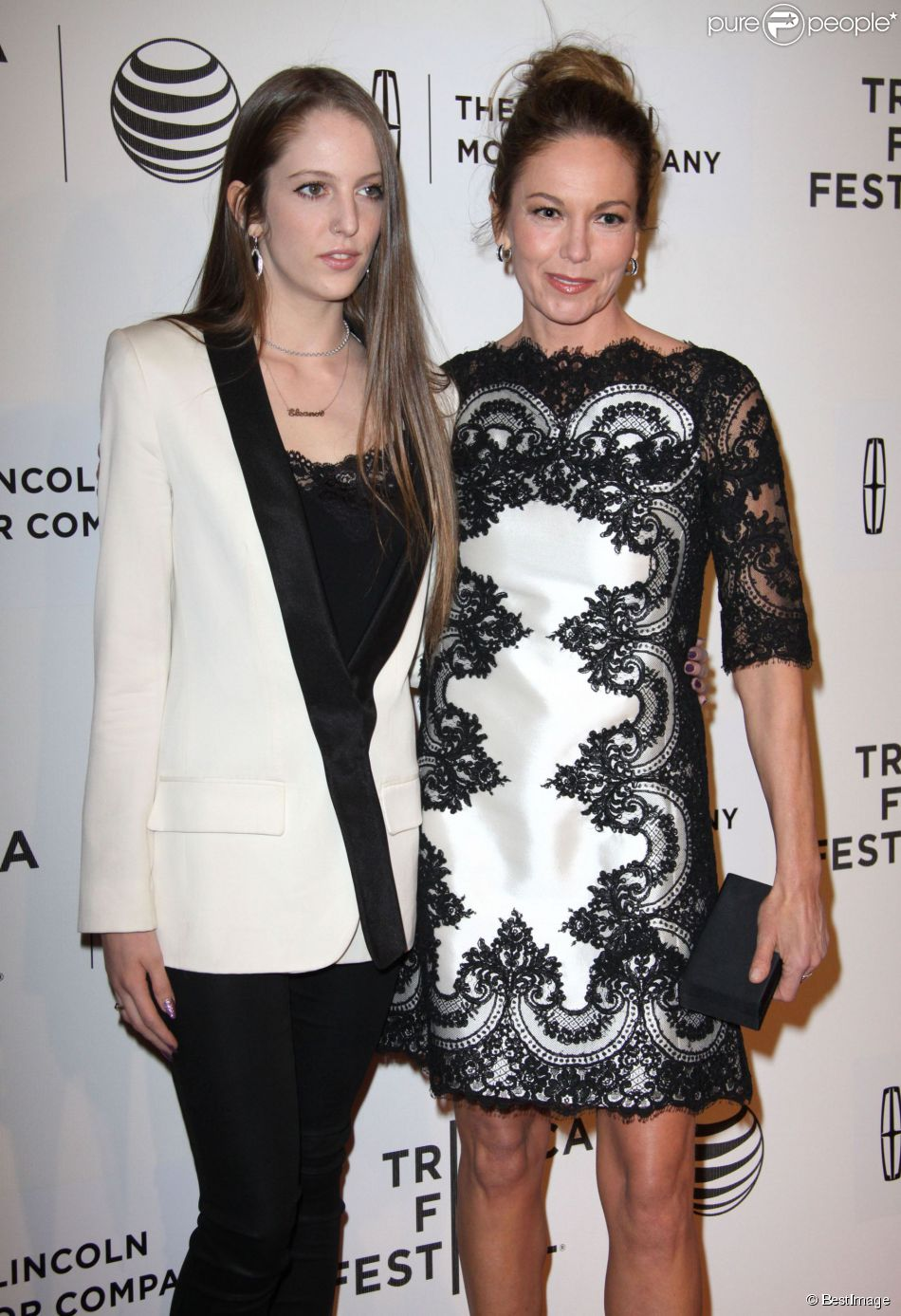 "Diane Lane et sa fille Eleanor Jasmine Lambert (fille de Christophe Lambert) à la première de ""Every Secret Thing"" au Festival de Tribeca 2014 à New York, le 20 avril 2014."