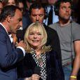Exclusif - L'animateur Nikos Aliagas et France Gall, dans les arènes de Nîmes à l'occasion de la spéciale Fête de la musique de l'émission La Chanson de l'année sur TF1, le samedi 20 juin 2015.