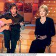 Françoise Hardy et Thomas Dutronc sur l'enregistrement de l'émission Vivement Dimanche, le 11 janvier 2001 à Paris