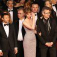 """Nathanaël Maïni, Dominique Besnehard, Louise Bourgoin, Laurent Larivière - Montée des marches du film """"Shan He Gu Ren"""" (Mountains May Depart) lors du 68e Festival International du Film de Cannes, à Cannes le 20 mai 2015."""
