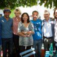Jean-Luc Romero, Stephane De Groodt, Maitena Biraben, Anne Hidalgo, Luc Barruet et Claude Bartolone - 17e édition du festival Solidays sur l'hippodrome de Longchamp à Paris le 27 juin 2015.