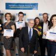 Gil Alma, Corinne Touzet, Vincent Chatelain, Emmanuelle Boidron, Bernard de La Villardière et Marie-Ange Casalta et Alain Pompidou - Ambasseurs de la fondation Claude Pompidou. Juin 2015.