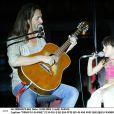 Francis Lalanne et sa fille Serena, fête ses 45 ans avec quelques candidats de Nice People, à Montpellier le 10 aout 2003