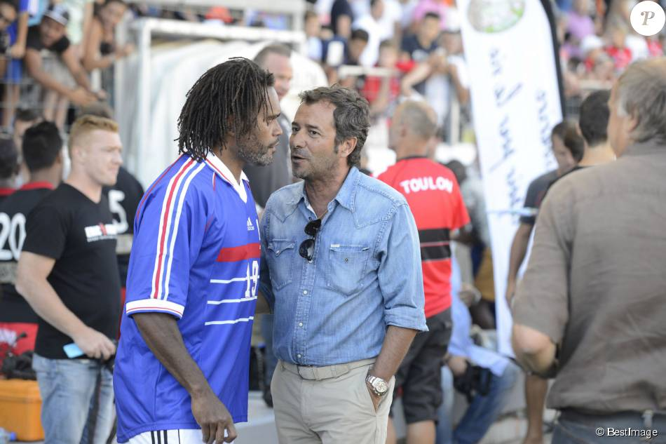 chrisitian karembeu et bernard montiel match amical de foot et rugby entre le rc toulon et l. Black Bedroom Furniture Sets. Home Design Ideas
