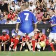 """Zinedine Zidane - Match amical de foot et rugby entre le RC Toulon et l'équipe de France 98 au stade Mayol à Toulon, au profit de l'association de Pascal Olmeta """"Un sourire, un espoir pour la vie"""" le 28 juillet 2015"""