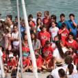 Jour de remise de diplômes, le 2 août 2015 à Palma de Majorque, pour les élèves de l'école de voile Calanova, dont les enfants de la famille royale espagnole.
