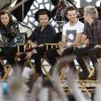 Harry Styles, Liam Payne, Niall Horan and Louis Tomlinson (One Direction) donnent une interview lors du Good Morning America Summer Concert Series à Rumsey Playfield - Central Park, New York le 4 aout 2015