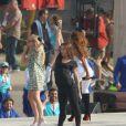Mel C, Mel B et Emma Bunton revoient les chorégraphies de leur show prévu lors de la cérémonie de clôture des Jeux olympiques. Le 9 août 2012