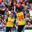 Arsenal's Alexis Sanchez celebrates scoring their second goal of the game with team-mate Francis Coquelin (right) during the FA Cup Final soccer match, Arsenal Vs Aston Villa at Wembley Stadium in London, UK May 30, 2015. Photo by Nick Potts/PA Wire/ABACAPRESS.COM31/05/2015 - London