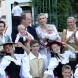 Mélanie-Antoinette de Massy, Elisabeth-Anne de Massy, le prince Albert de Monaco, son fils le prince Jacques, la princesse Charlène, sa fille la princesse Gabriella, Georges Marsan (le maire de Monaco) - Le prince Albert de Monaco et la princesse Charlène, accompagnés de leurs enfants le prince Jacques et la princesse Gabriella, habillés en costume traditionnel, au traditionnel pique-nique de la Principauté, qui se tient chaque année au parc de la princesse Antoinette le 28 août 2015 à Monaco.