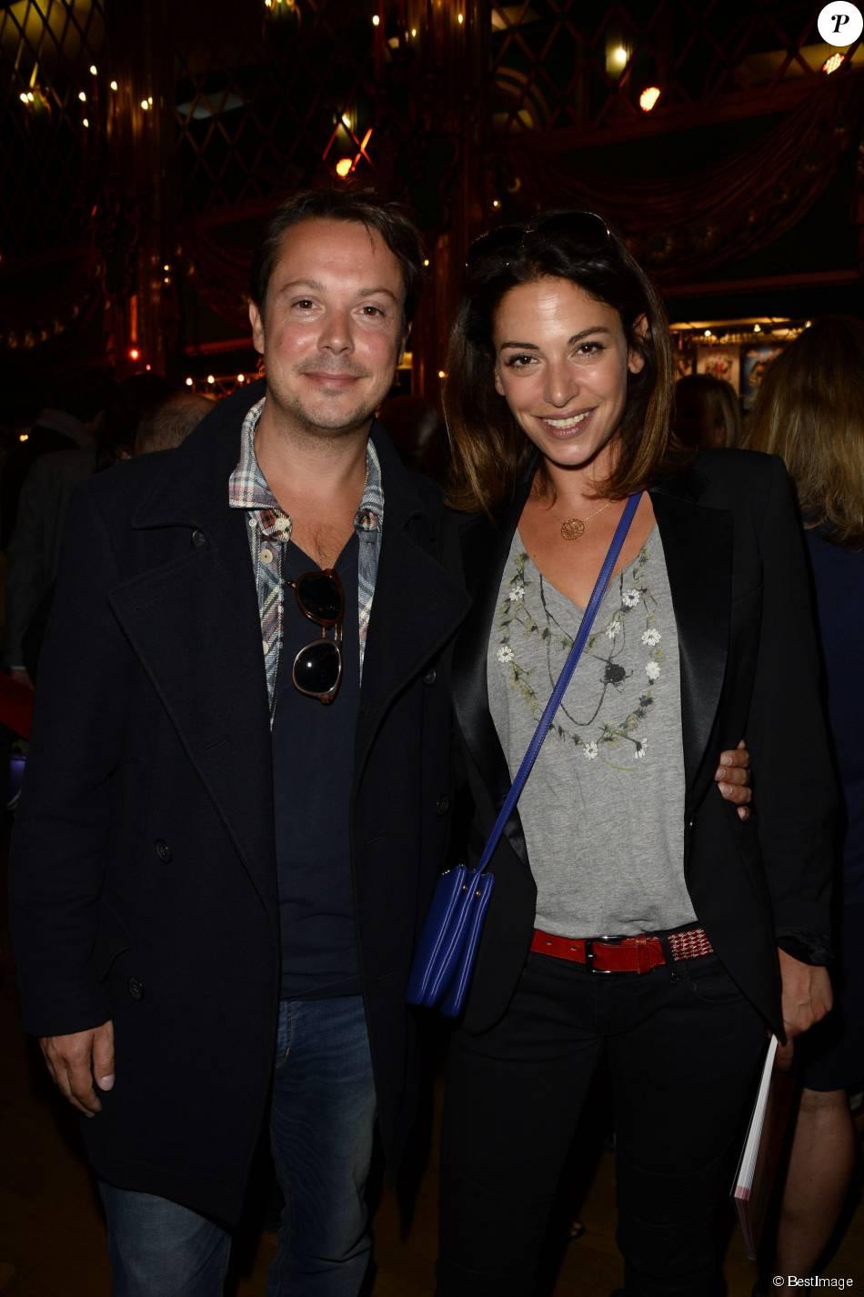 Davy Sardou et sa femme Noémie Elbaz - Présentation de la saison 2015/2016 par le Syndicat National du Théâtre Privé aux Folies Bergère à Paris. Le 8 septembre 2015