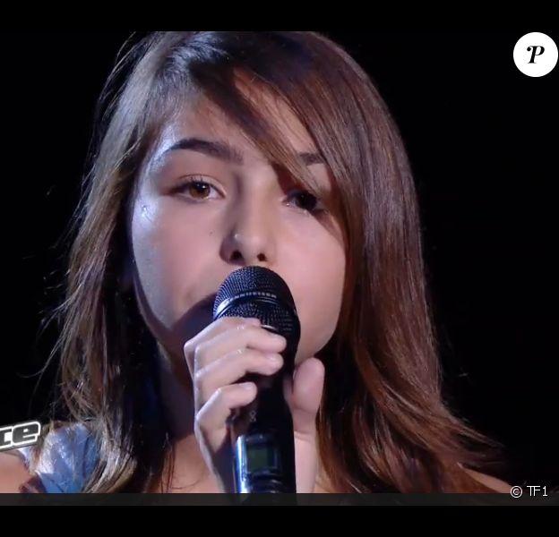 Carla sur le plateau de The Voice Kids, le samedi 20 septembre 2014 sur TF1.
