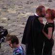 """Sting et Mylène Farmer sur le tournage du clip """"Stolen Car"""" à Paris, septembre 2015."""