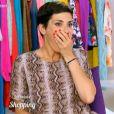 """Cristina Cordula choquée devant le look d'un """"sosie"""" de Kylie Minogue dans Les Reines du shopping, le 30 septembre 2015, sur M6"""