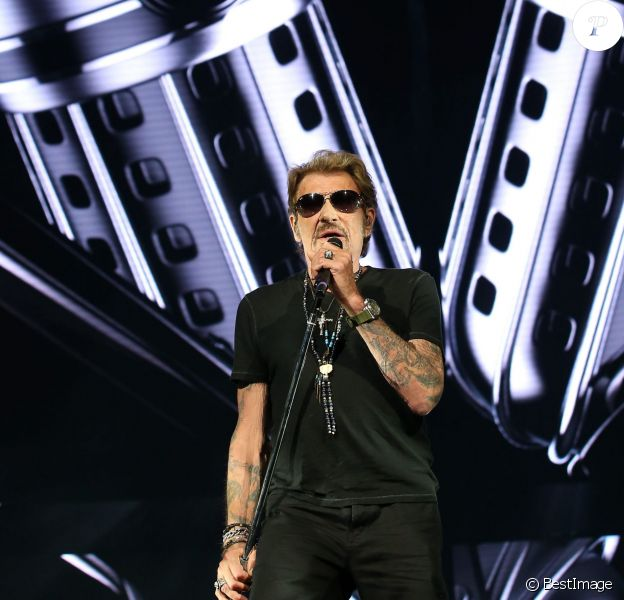 """Exclusif - Johnny Hallyday en répétitions au palais Nikaia à Nice, à deux jours de son premier concert de sa tournée """"Rester Vivant"""", le 29 septembre 2015."""