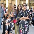 Anna Dello Russo et Giovanna Battaglia lors du défilé Isabel Marant (collection prêt-à-porter printemps-été 2016, au Palais-Royal. Paris, le 2 octobre 2015.
