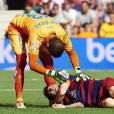 Lionel Messi se blesse à Barcelone, le 26 septembre 2015.