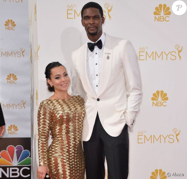 Chris Bosh et son épouse Adrienne lors de la soirée HBO Emmy After Party au Plaza du Pacific Design Center de West Hollywood, le 25 août 2014