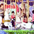 Exclusif - Céline Dion et Nelson et Eddy font des tours de manège au Disneyland d'Anaheim en Californie le 15 octobre 2015.