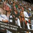 Exclusif - Michael Bublé est allé voir un match de football de l'équipe des Whitecaps avec son fils Noah à Vancouver. Le 26 août 2015