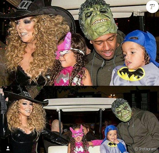 Mariah Carey, son ex-mari Nick Cannon et leurs jumeaux Moroccan et Monroe pour Halloween 2015. Photo Instagram Nick Cannon.