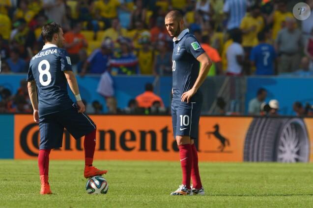 Mathieu Valbuena et Karim Benzema lors de la Coupe du monde au Brésil en juillet 2014