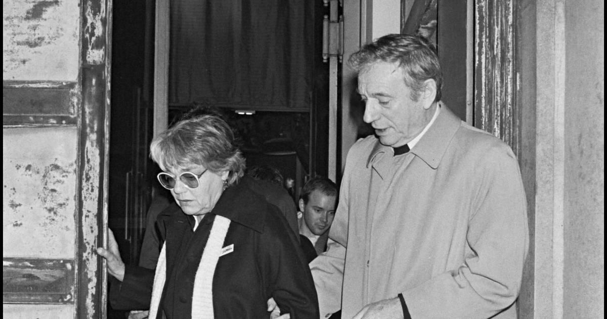 Simone Signoret et Yves Montand, à la Cinémathèque de Paris, en novembre 1982.