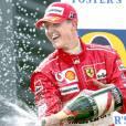 Michael Schumacher après sa seconde place au Grand Prix de Belgique à Spa, le 29 août 2004