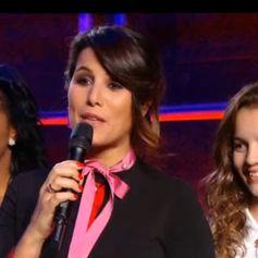 Karine Ferri, enceinte et radieuse, lors de la finale de The Voice Kids 2, vendredi 23 octobre sur TF1.
