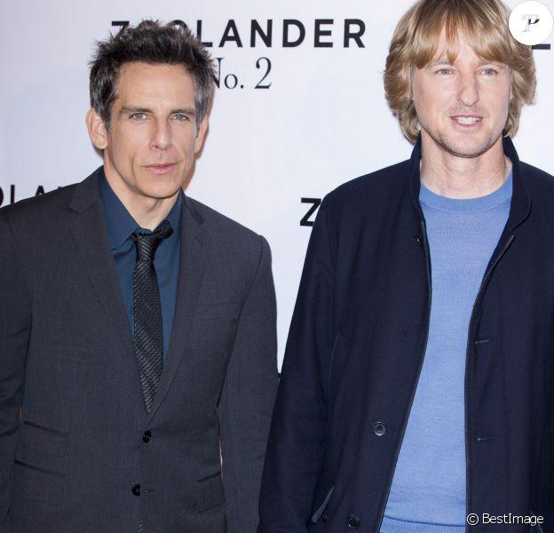 """Ben Stiller et Owen Wilson - Photocall du film """"Zoolander 2"""" à l'hôtel Plaza Athénée à Paris, le 29 janvier 2016."""