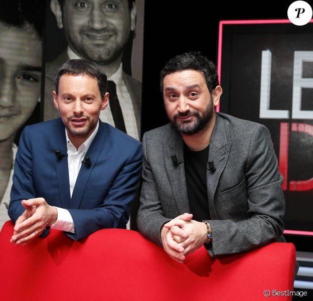 Exclusif - Cyril Hanouna et Marc-Olivier Fogiel, lors de l'enregistrement de l'émission Le Divan, le 9 janvier 2016 à la Plaine St-Denis. Elle sera diffusée le 9 février 2016 à 23h10, sur France 3. © Dominique Jacovides