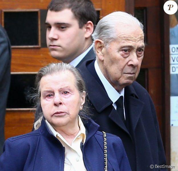 Charles Pasqua et sa femme Jeanne Joly aux obsèques de leur fils Pierre-Philippe en l'église Notre-Dame des Chênes, à Grasse le 17 février 2015