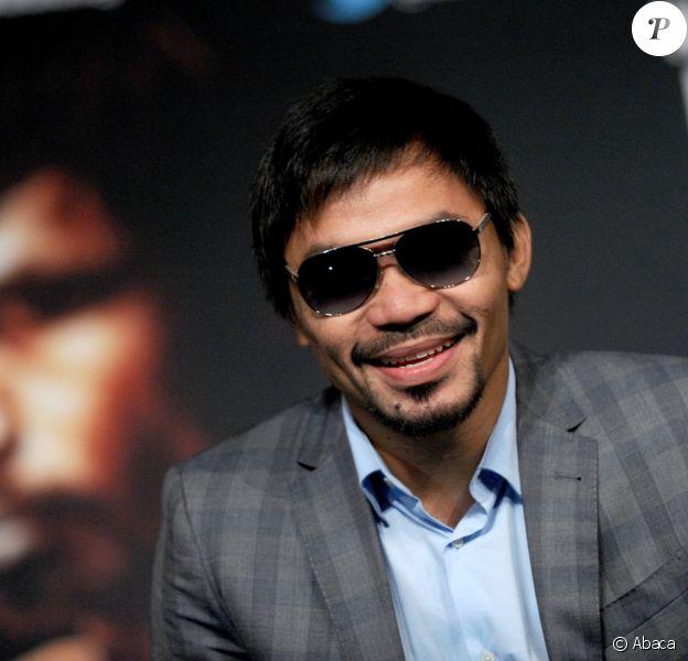 Manny Pacquiao lors d'une conférence de presse pour promouvoir son combat du 9 avril prochain face à Timothy Bradley, le 21 janvier 2016 au Madison Square Garden de New York