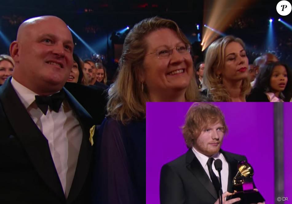 Un couple d'inconnus pris pour les parents d'Ed Sheeran par la chaîne CBS durant son discours de remerciement aux Grammy Awards, le 15 février 2016 à Los Angeles.