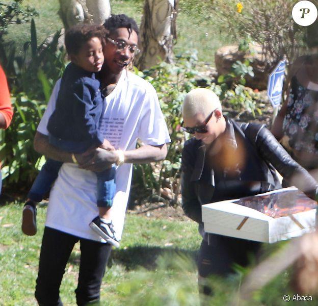 Wiz Khalifa et Amber Rose assistent à la fête d'anniversaire de leur fils Sebastian (3 ans) à Los Angeles. Le 20 février 2016.