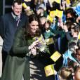 Kate Middleton, comtesse de Strathearn en Ecosse, visitait le 24 février 2016 l'école primaire Ste Catherine à Edimbourg en tant que marraine de l'association Place2Be.