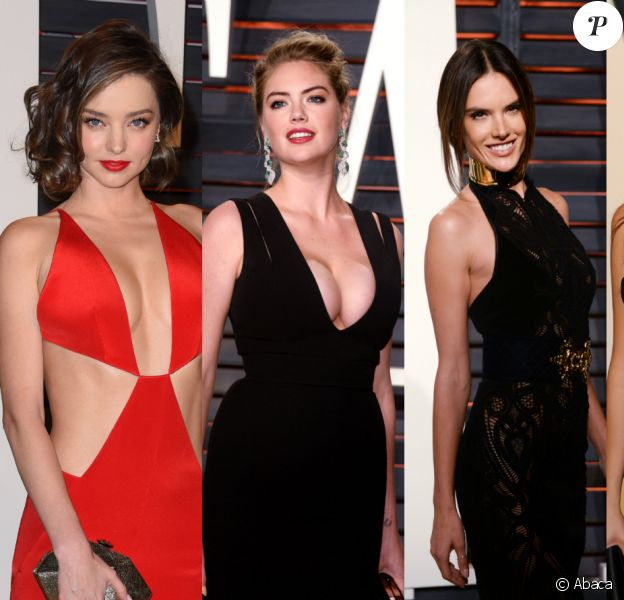 Miranda Kerr, Kate Upton, Alessandra Ambrosio et Emily Ratajkowski : quatre des invitées irrésistibles de la soirée post-Oscars de Vanity Fair ! Beverly Hills, le 28 février 2016.