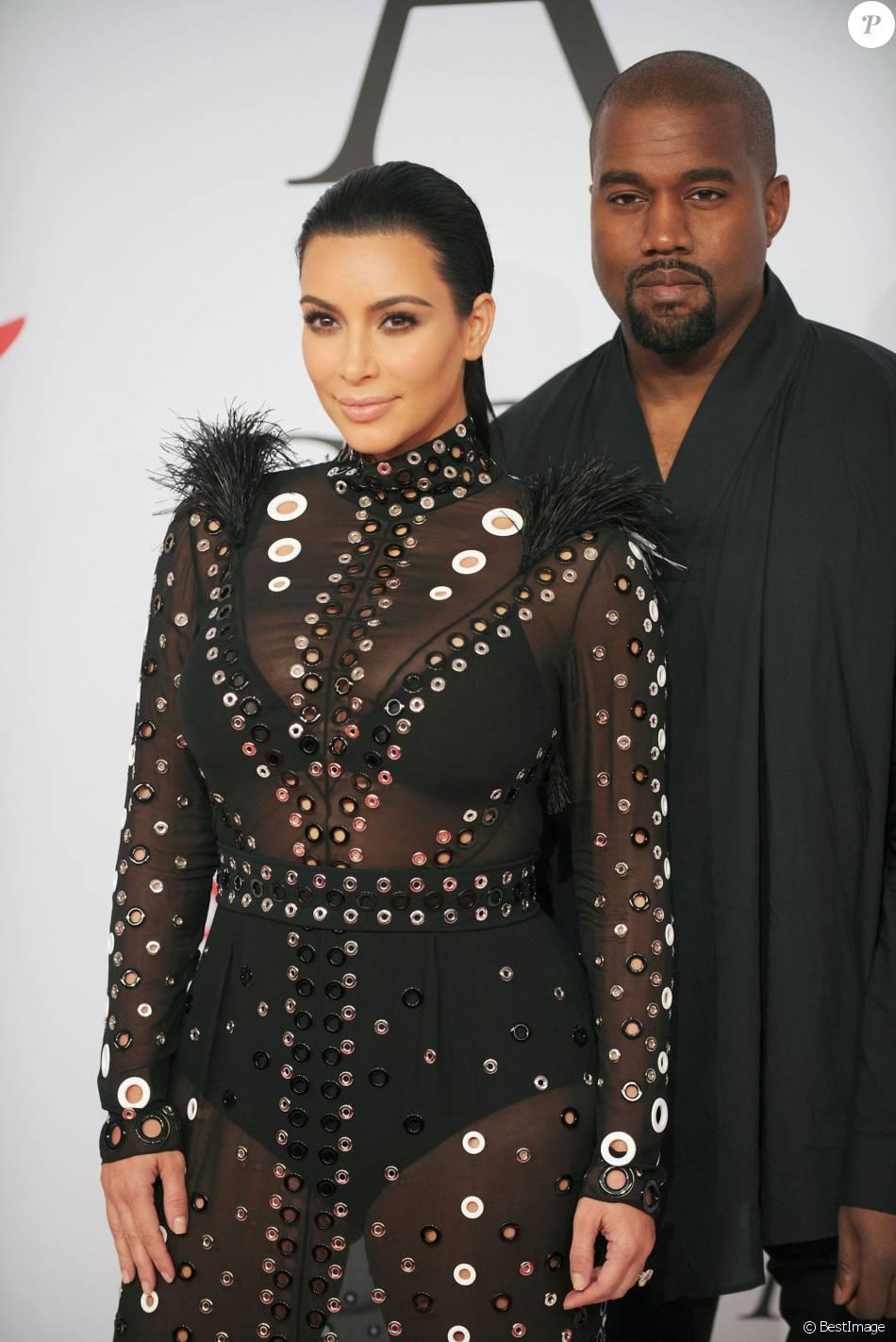 Kim Kardashian (enceinte) et son mari Kanye West - People à la soirée des CFDA Fashion Awards 2015 au Lincoln Center à New York, le 1er juin 2015.