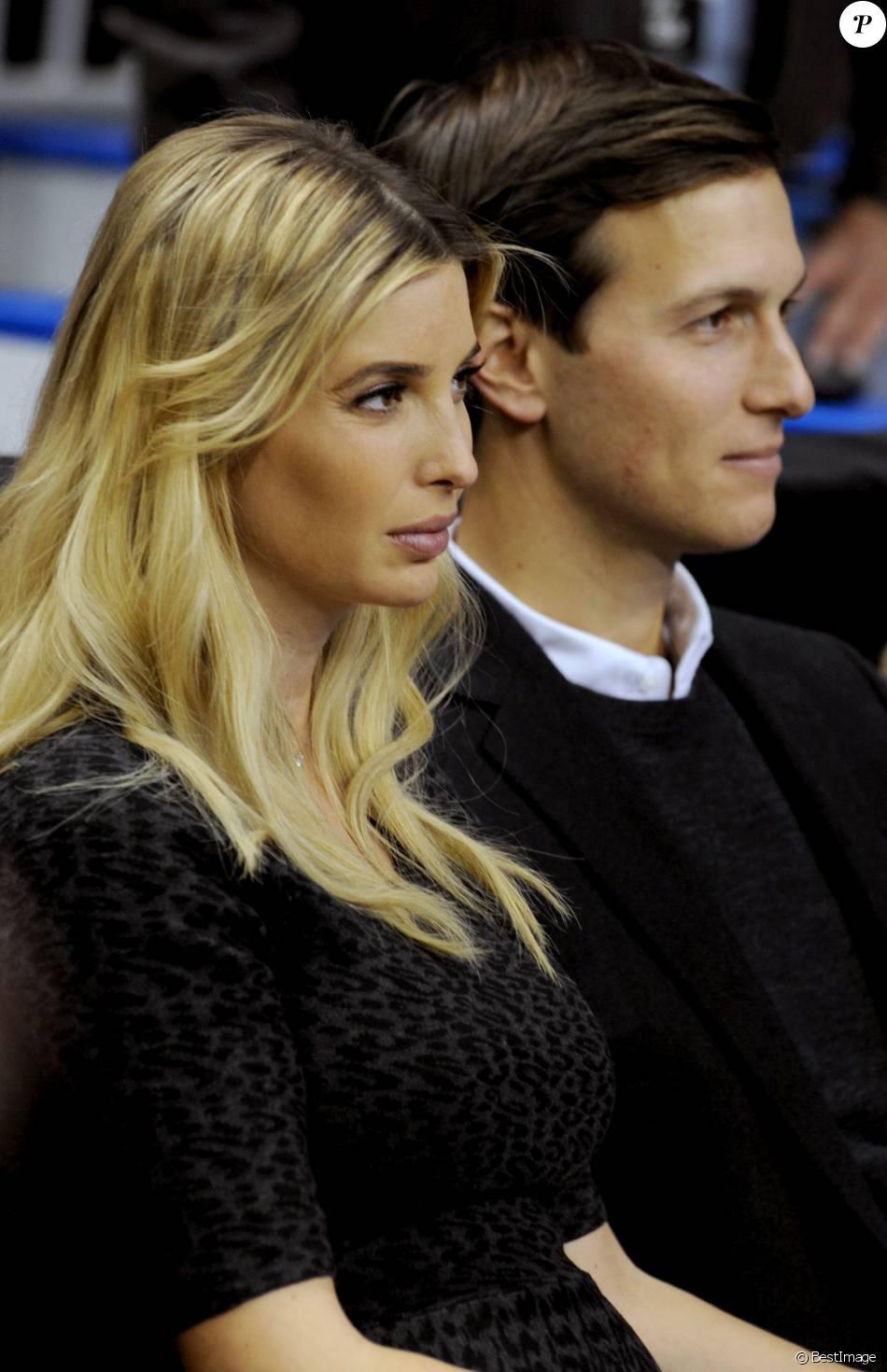 Ivanka (enceinte) Trump et son mari Jared Kushner lors dun meeting de Donald Trump à Manchester dans le New Hampshire le 8 février 2016.