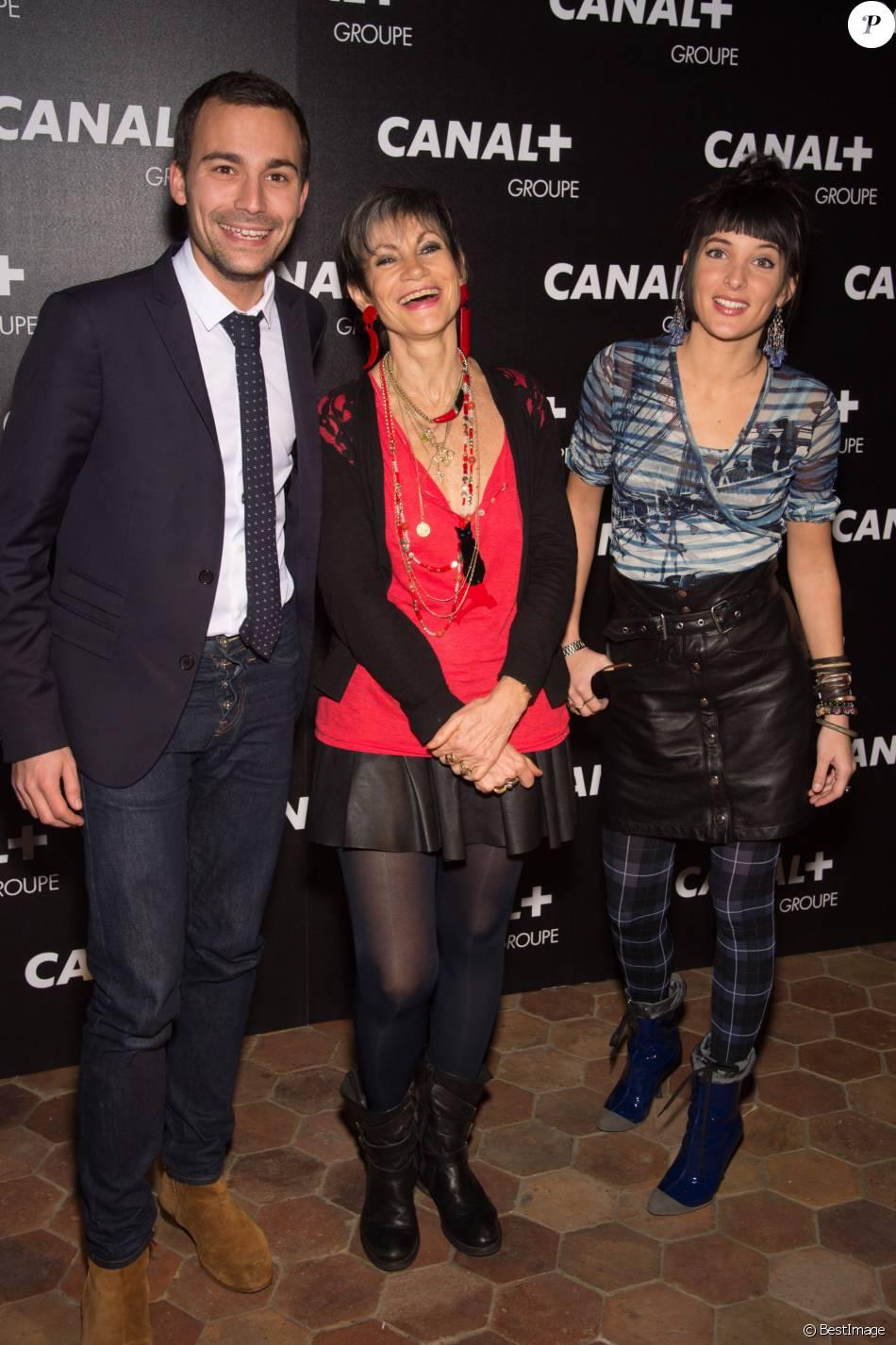 Bertrand Chameroy, Isabelle Morini Bosc et Erika Moulet Soirée des animateurs du Groupe Canal+ au Manko à Paris. Le 3 février 2016.