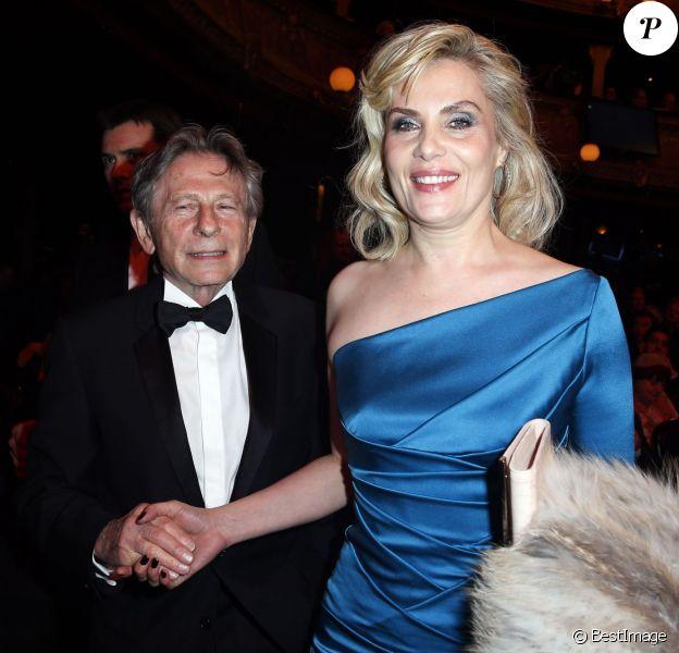 """Emmanuelle Seigner et son mari Roman Polanski (Cesar du meilleur réalisateur pour le film """"La Vénus à la fourrure"""") - 39e cérémonie des Cesar au théâtre du Châtelet à Paris, le 28 février 2014."""
